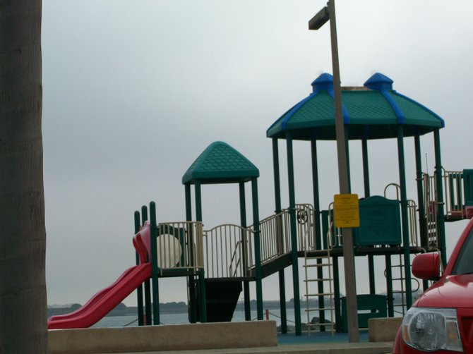 Shelter Island kiddie playground in the fog.