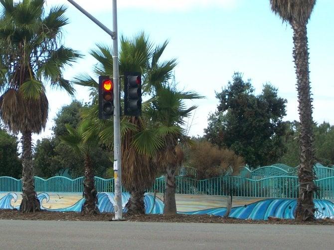 colorful fencing near Robb Field Skate Park in Ocean Beach.