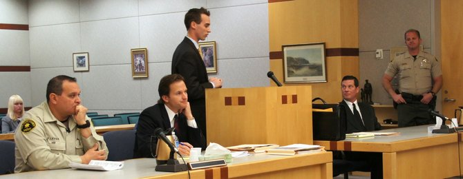 Deputy Leyva, prosecutor, defense attorney, and Eric Campbell in court. Photo Weatherston.