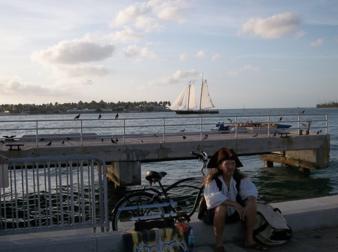 A pirate alone with his thoughts in Key West.