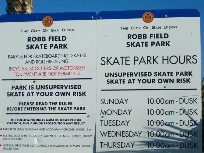 Ocean Beach's skate park rules & regulations.