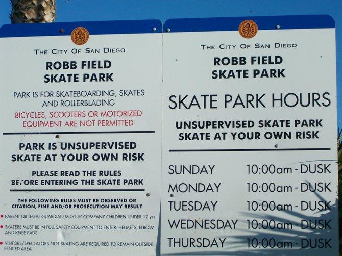 Ocean Beach's skate park rules & regulations.