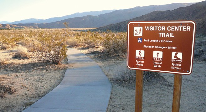 The concrete-paved Visitor Center Trail allows wheelchair-bound visitors to roll three quarters of a mile into the desert habitat.