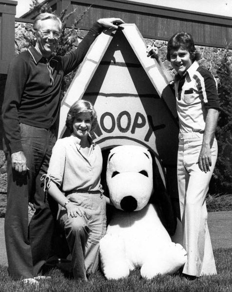 """Peanuts"" creator Charles M. Schulz, Sally Dryer, the voice of Lucy Van Pelt, Snoopy, and Peter Robbins."