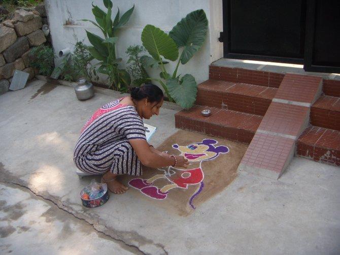 Diwali chalk painting.  Diu, India.