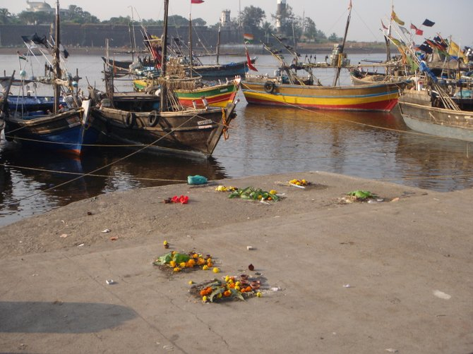 "Remnants of Diwali ""puja"" ritual in Daman, India."