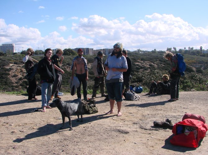 Drum circle group - resting at the steps above Blacks Beach - the morning after a full-moon gathering held below last night...