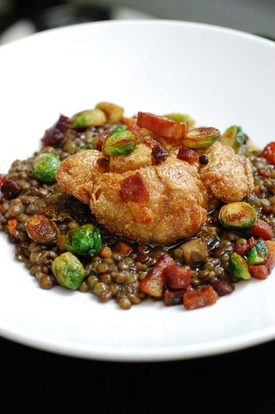 Maple-glazed sweetbreads with brown butter lentils, bacon and Chino Brussels sprouts is among the faves from the first five years that might make it onto WNL's anniversary dinner table
