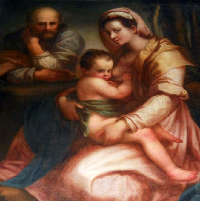 Holy Family Painting in the St. Martin Church in Poznan (St. Martin Street). Unknown painter copy is placed in the north aisle near a Christmas Crib. This is no original and the copy is still the matter under investigation. There is no knowing whether the title painting can be connected with the prewar St. Joseph chapel (built in 1885 in the right-hand aisle). In 1925 the church reconstruction began aiming to expand and repair the old church, and the chapel was extended. In 1939, the church was converted into a warehouse with looted by Hitlerites works of sacred art. Unluckily, its contents burned down in 1945.
