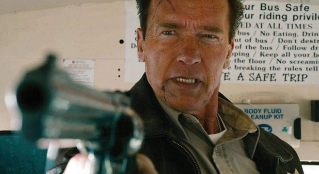 Former governor Schwarzenegger displays admirable gun control in his new violent thriller.