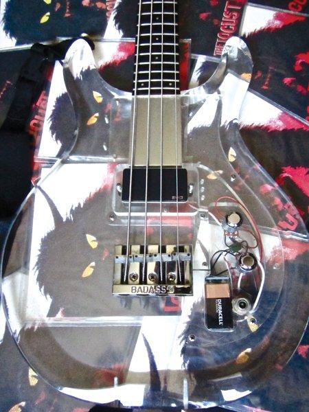 Justin Pearson's Acrylic Bass.