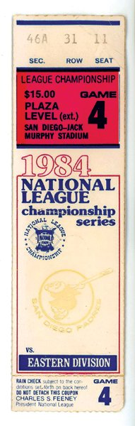 National League Championship, Game 4 Ticket, 1984.