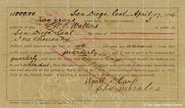 Wyatt Earp Promissory Note.