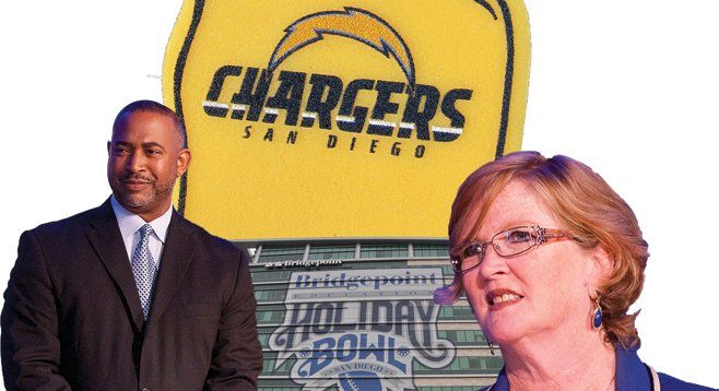 Councilmembers Tony Young and Marti Emerald gave away thousands of dollars' worth of the Holiday Bowl and Chargers tickets.