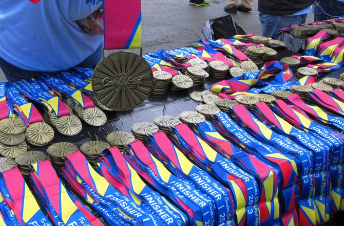 Medals from the Carlsbad Marathon