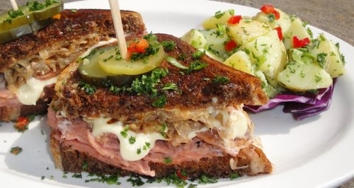 Native Foods Cafe's Classic Deli Reuben, made with alternative protein seitan