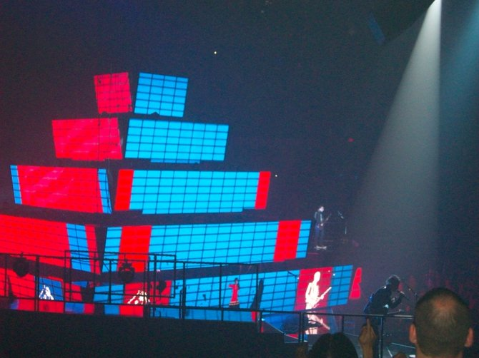 Colorful pyramid during Muse show at (formerly) the Sports Arena.