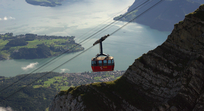 Jawdrop-worthy shot of Mt. Pilatus gondola. The Lucerne suburb of Kriens is a 30-minute ride away.