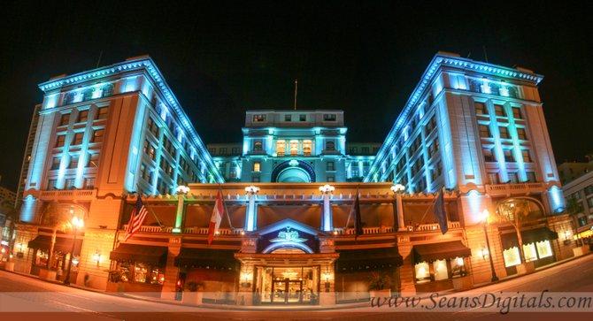 The U.S. Grant Hotel at night