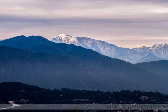 The snow covered mountains off to the west of LA