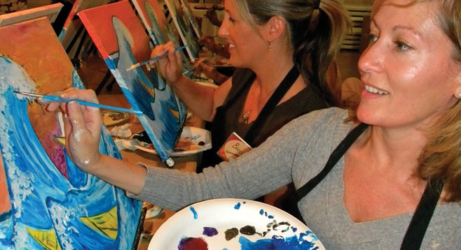 Painters at Painting and Vino event