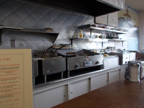 Food Factory's kitchen. You get to see your meal happening.