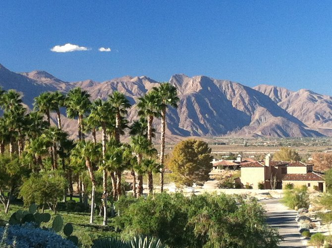 View from Rams Hill neighborhood Northwest towards town of Borrego Springs.
