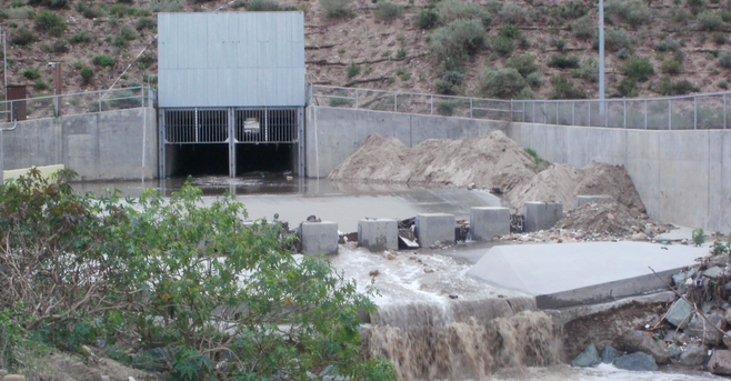 This drain at Smuggler's Gulch contributes to the flood hazard in the Tijuana River Valley