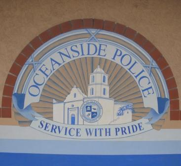 Wall signage at Oceanside police headquarters.  Photo Weatherston.