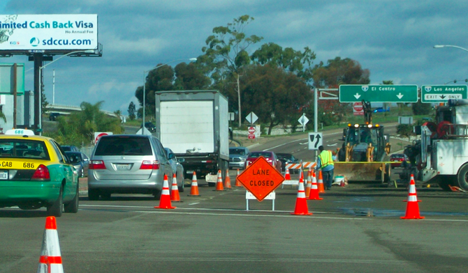Traffic flow was down to one lane all morning heading east past the Shell Gas Station
