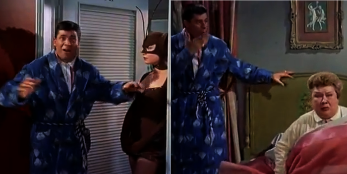 Jerry Lewis meets Bat Lady (Shirley MacLaine) and fat lady