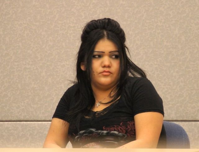 Corina Lani Morales in court.  Photo Weatherston.