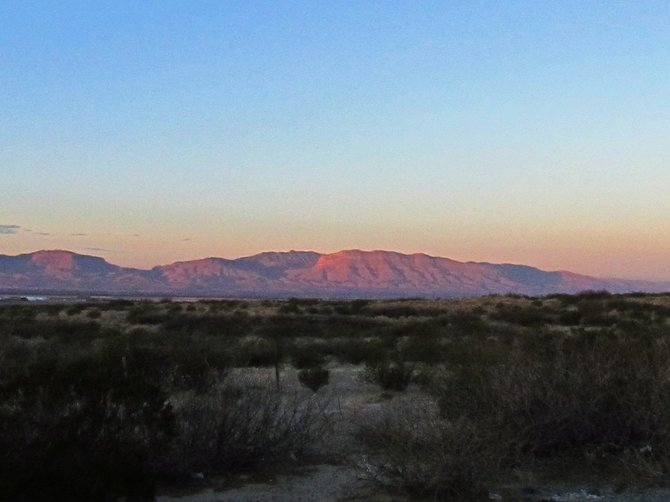 Dawn over the Hueco and Juarez mountains in Far West Texas.