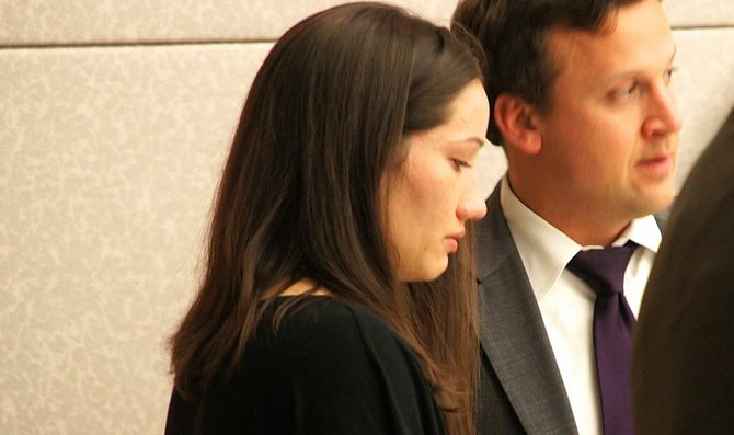Kallie Helwig became tearful after the verdict.  Photo Weatherston.