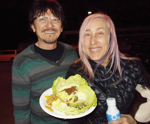 """Tony and Tess shared a """"true cod"""" fish taco with jalapeños and avocados."""
