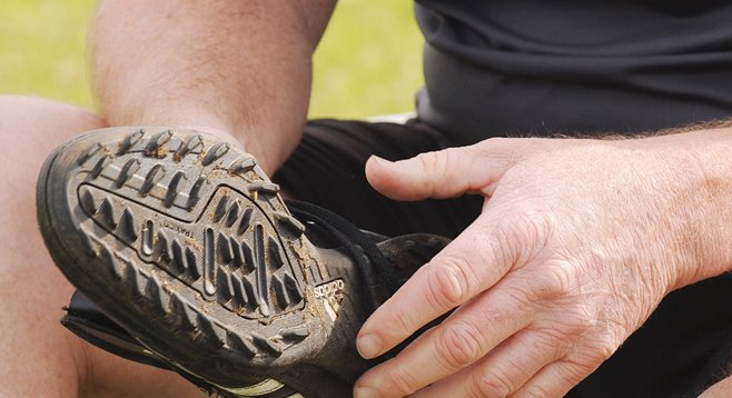 While turf shoes like this are allowed, the Park and Recreation Department is cracking down on longer-studded cleats at Mission Bay Park.