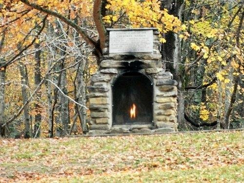 Eternal flame at Red Clay State Park.