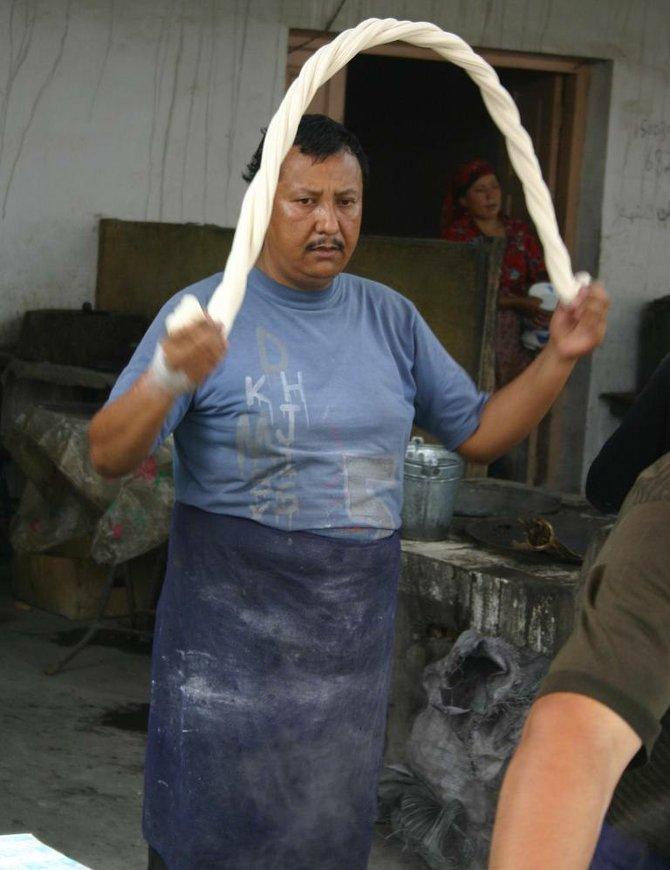 swinging the dough