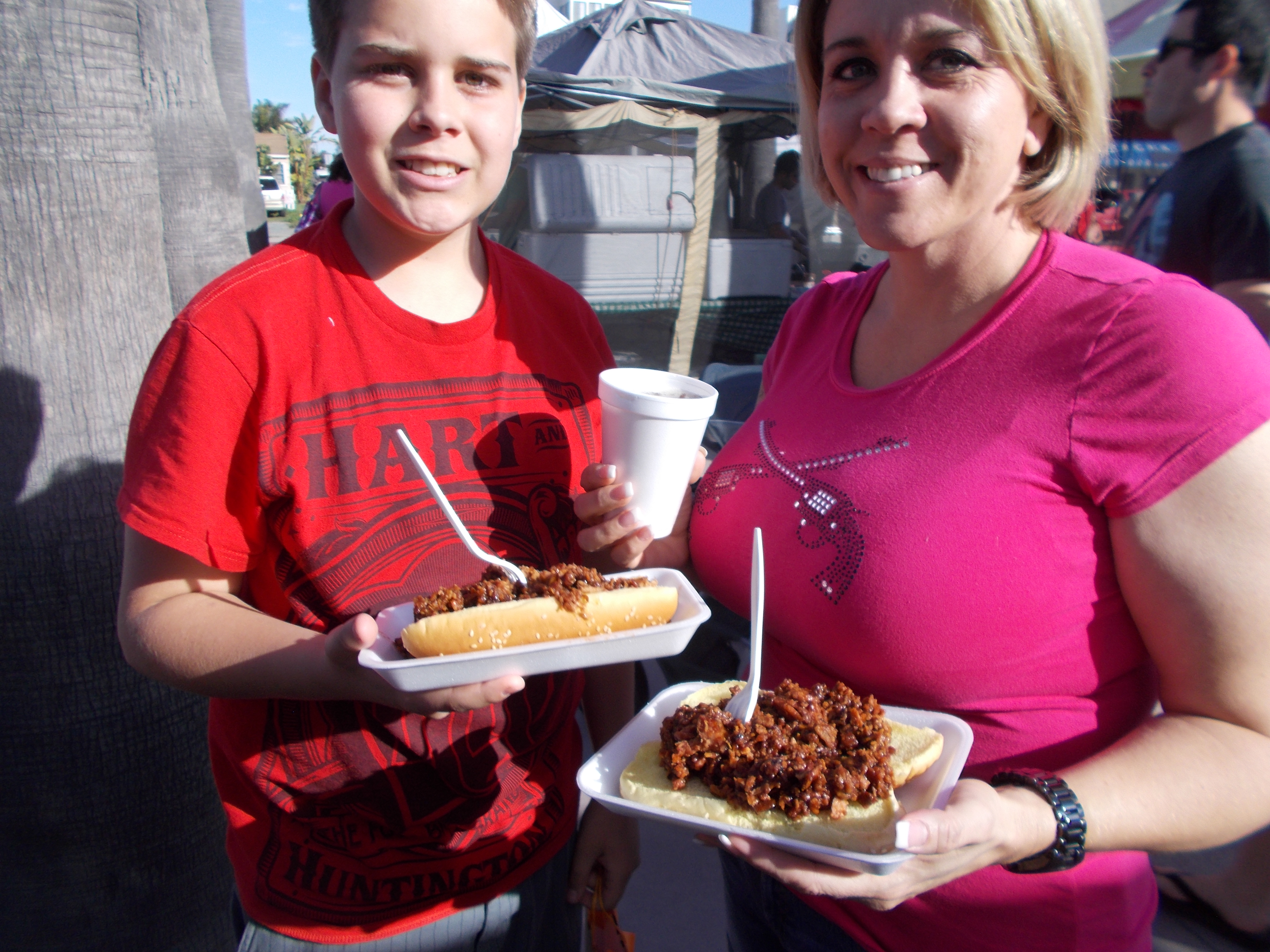 Sharee and son Zach with their pulled pork sandwiches