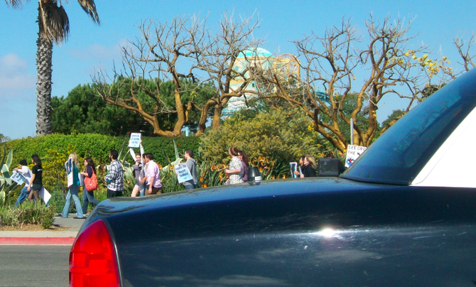Protesters and police showed up outside SeaWorld on February 17.