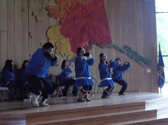 A traditional dance at the Alaska Native Heritage Center.