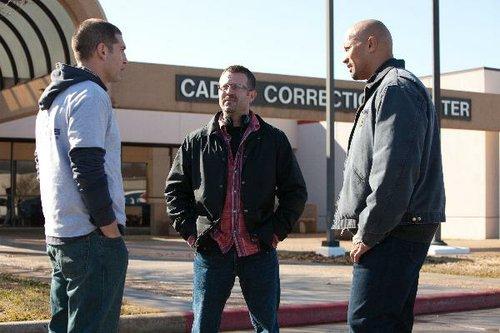 Jon Bernthal, Ric Roman Waugh, and Dwayne Johnson.