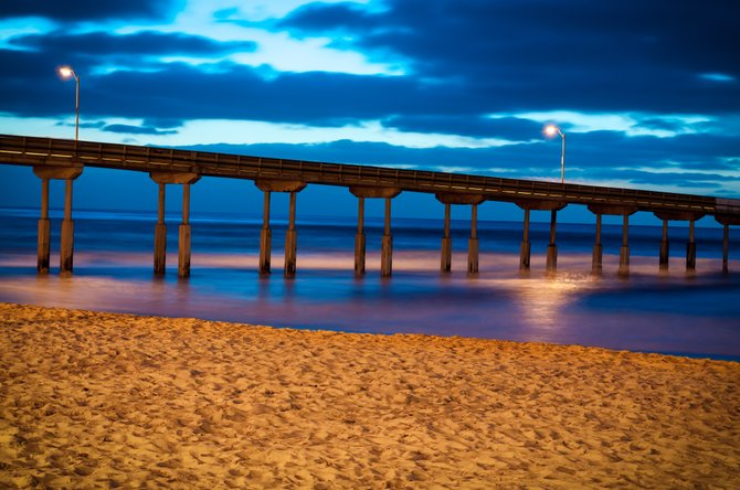 Just a picture from my neighborhood.  The Ocean Beach pier a little while after sunset. The long shutter speed required for the low light, blurred the all waves together.