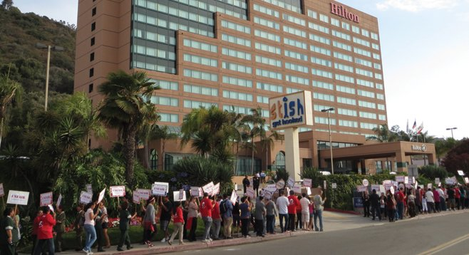 Unite Here, the union that represents hotel, gaming, and food-service workers, in front of the Mission Valley Hilton. - Image by Trinh Le