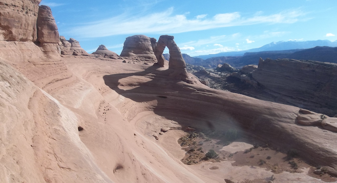 Forty minutes from Moab, Arches National Park's photogenic Delicate Arch on approach.