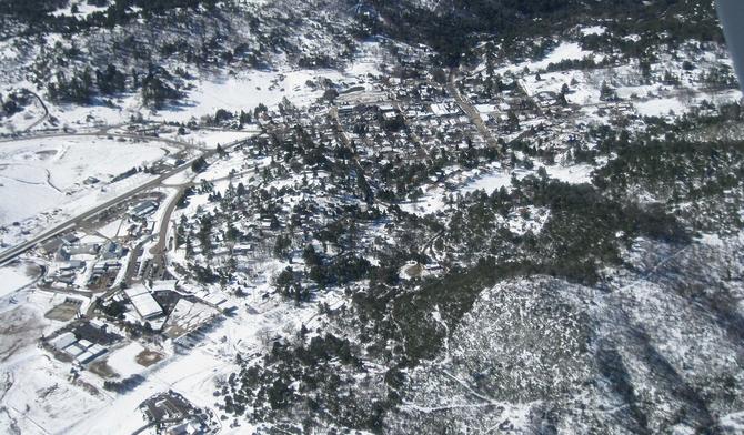Aerial view of Julian's snowfall, February 22 | San Diego ...