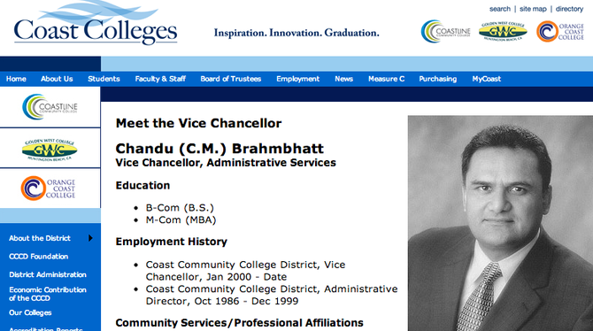 Staff photo of C.M. Brahmbhatt when he worked for Coast Colleges — also the former employer of Southwestern College superintendent Melinda Nish