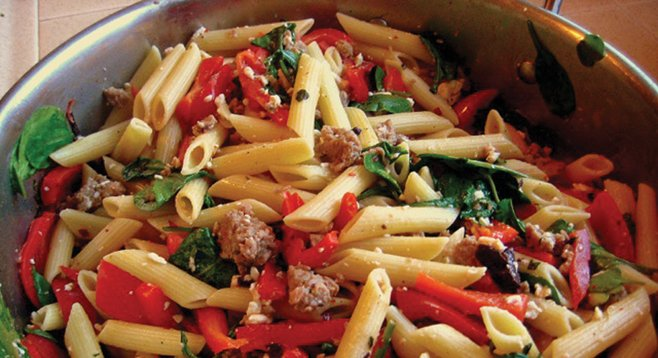 Sausage, peppers, and pasta