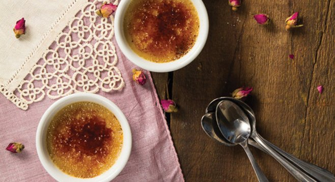 The secret to rose crème brûlée is good rose syrup.