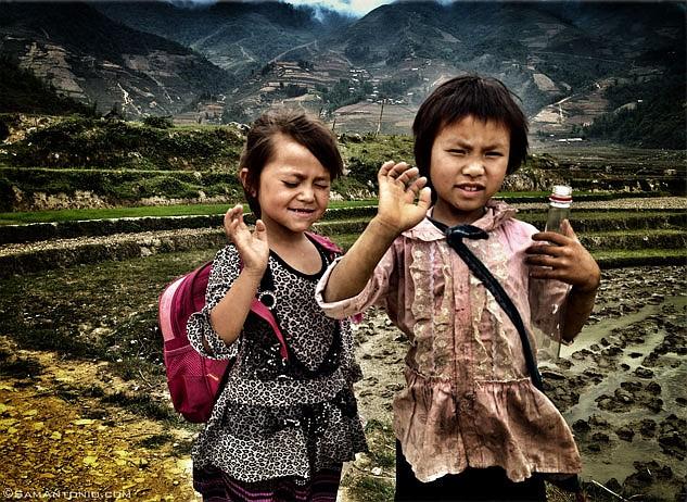 Hmong schoolchildren near the village of Cat Cat, Vietnam.